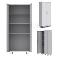 UBesGoo 4 Shelf Steel Storage Cabinet, with 3 Adjustable Shelves and Lockable Doors, for Home Study Room and Office, 74 in. H