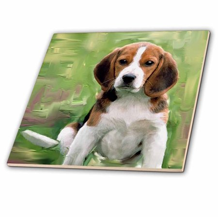 Beagle Tile Box - 3dRose Beagle Puppy - Ceramic Tile, 4-inch