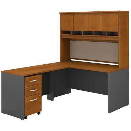 Series C 60W L Desk with Hutch and Drawers in Natural Cherry - Engineered Wood