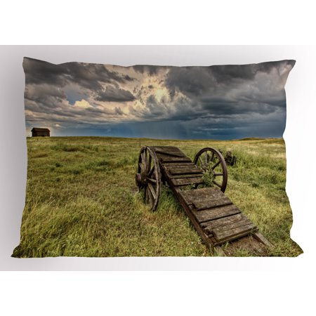 Prairie Pillow (Barn Wood Wagon Wheel Pillow Sham Old Prairie Cart Agricultural Field Ranch Dramatic Stormy Sky, Decorative Standard Size Printed Pillowcase, 26 X 20 Inches, Green Brown Grey, by Ambesonne )