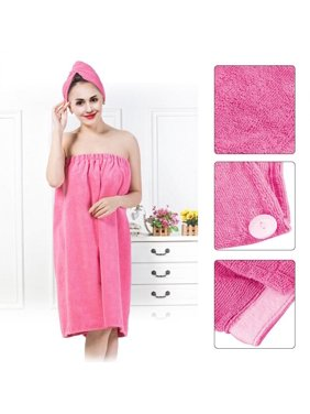 Zerone Women Soft Bath Body Wrap Set Shower Spa Towel Bath Wrap with Adjustable Hair Drying Cap Hair Turban