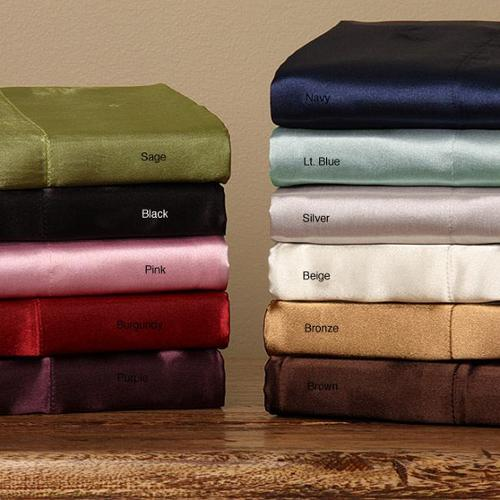 Silky Satin King/ California King-size 4-piece Satin Sheet Set King Silver