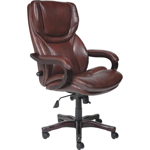 Serta Executive Big & Tall Bonded Leather Office Chair, Brown