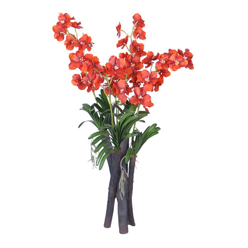 Gold Eagle USA Vanda Orchid Flower and Foliage in Vase