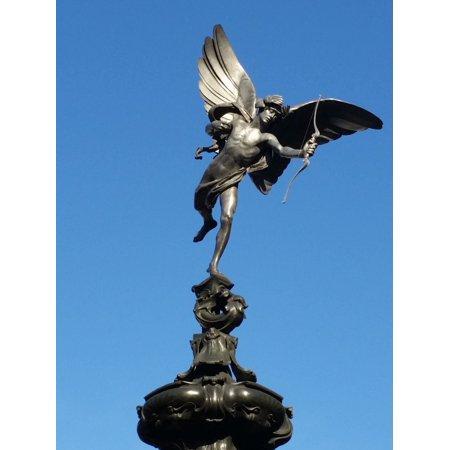 Cupid Statue (Canvas Print Struck Eros Love Cupid Statue Romantic Blue Sky Stretched Canvas 10 x 14 )
