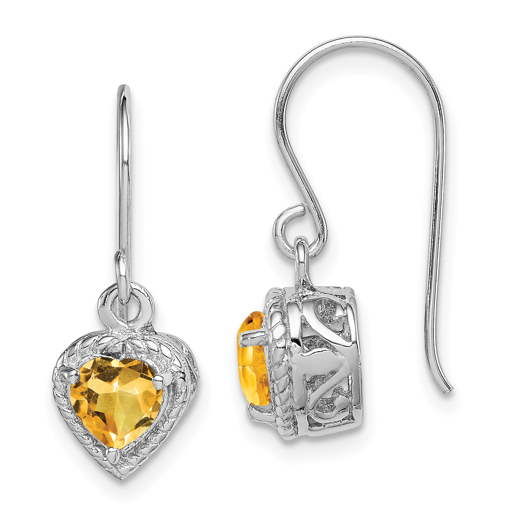 Sterling Silver Rhodium Citrine Small Heart Earrings QE9412CI - image 2 of 2