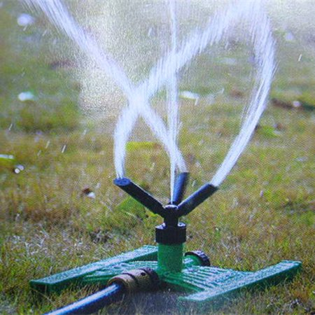 Garden Sprinkler System - 360° 3-Arm Garden Sprinkler Watering Plant Lawn Farmland Lawn Sprinkler Garden Park Yard Spray Irrigation System with Wheel Covering Large Area 50 feet