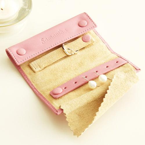 Personalized Mini Jewelry Roll, Pink