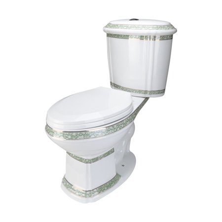 Elongated Bathroom Toilet Dual Flush ADA Green and White With Slow Close