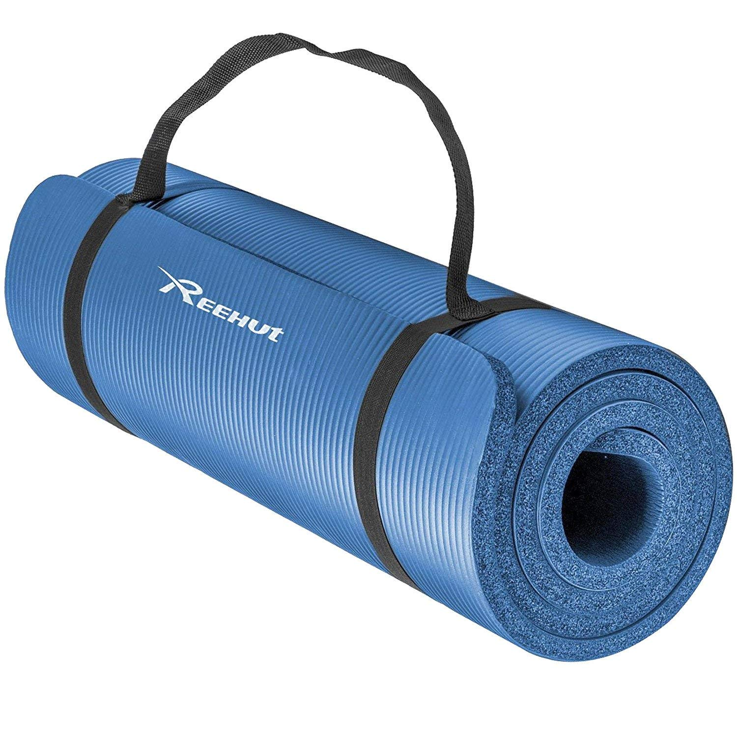 Reehut 1/2-Inch Extra Thick High Density NBR Exercise Yoga Mat for Pilates, Fitness & Workout w/ Carrying Strap - Blue