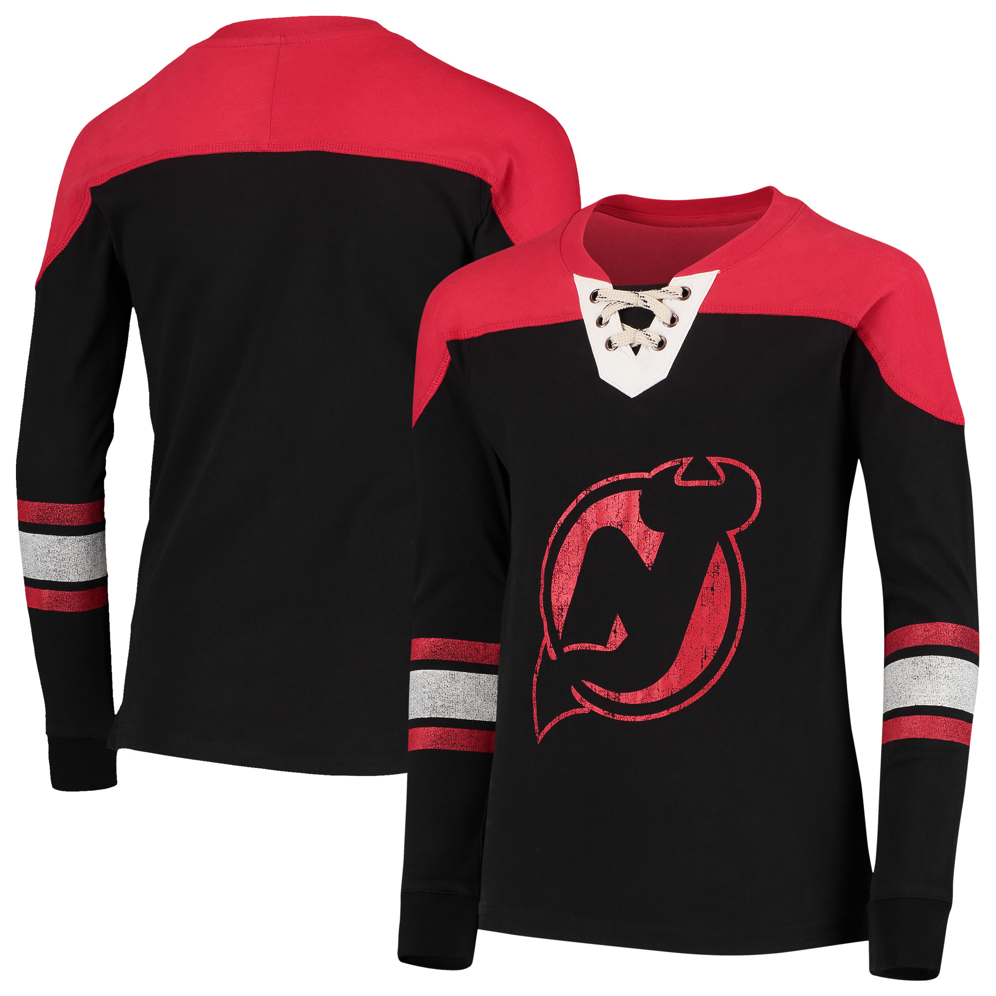 New Jersey Devils Youth Perennial Hockey Lace-Up Crew Sweatshirt - Black/Red