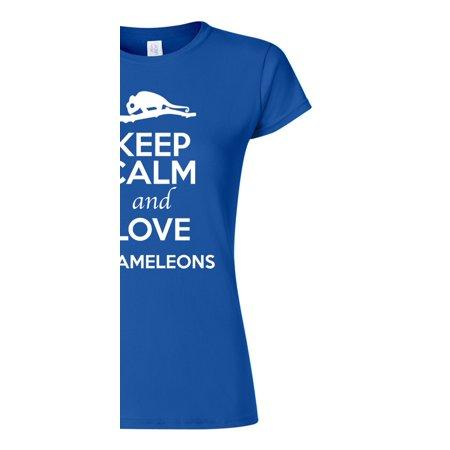 24ac7f1a City Shirts - Junior Keep Calm And Love Chameleons Lizard Animal Lover T-Shirt  Tee - Walmart.com