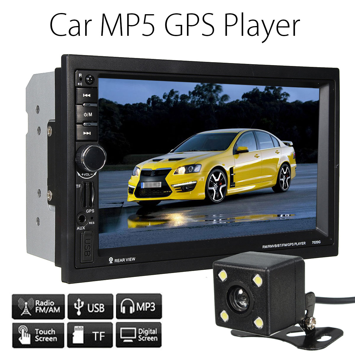 7; Bluetooth  Touchscreen 2 Din Car Radio Stereo MP3 MP5 Player with GPS Navigation