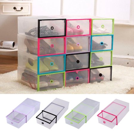 Rectangular Clear Plastic Shoe Box Transparent Drawer Case Protective Storage Shoe Boxes Storage Organizer Stackable Box ()