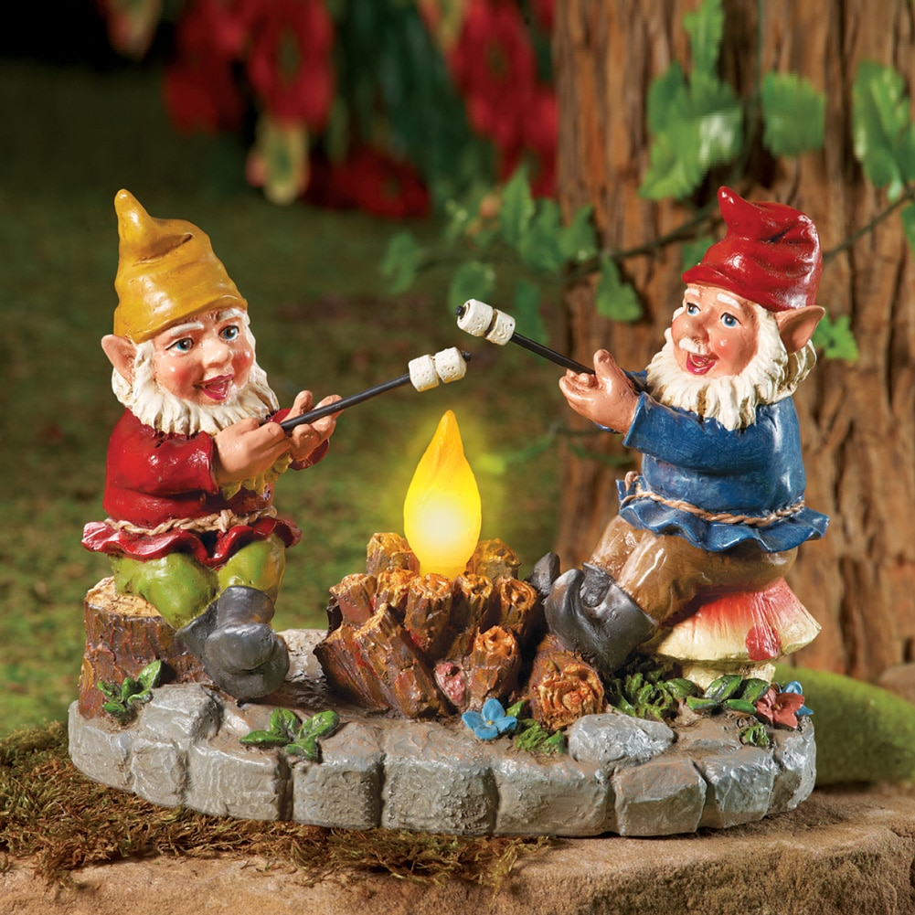 Solar Campfire Light Garden Gnomes, with Hand-painted Details and ...