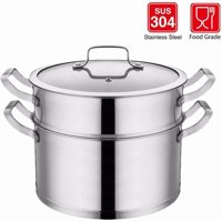 Stainless Steel 3-Piece 6-Quart 2-Tier Pasta/Steamer Set with Tempered Glass Lid, and Double Handles Premium Steamer Saucepot double boiler