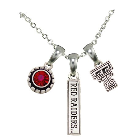 Texas Tech Red Raiders 3 Charm Silver Chain Red Black Charm Necklace Jewelry - Raiders Necklace