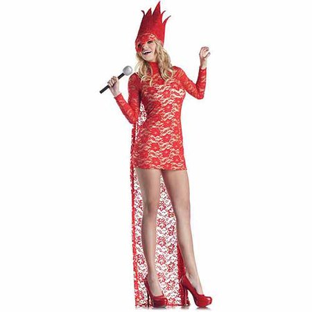 Red Lace Pop Star Adult Halloween Costume