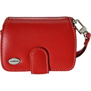 Olympus Premium Slim Camera Case Leather Compact Universal Cover Belt Clip Magnetic Closure Red 202085