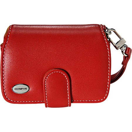 Olympus Premium Slim Camera Case Leather Compact Universal Cover Belt Clip Magnetic Closure Red