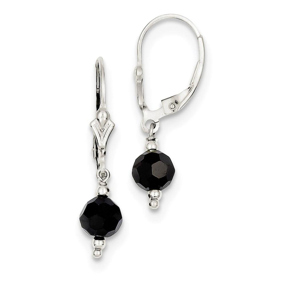 Sterling Silver 1.2IN Long Black Swarovski Elements Leverback Earrings