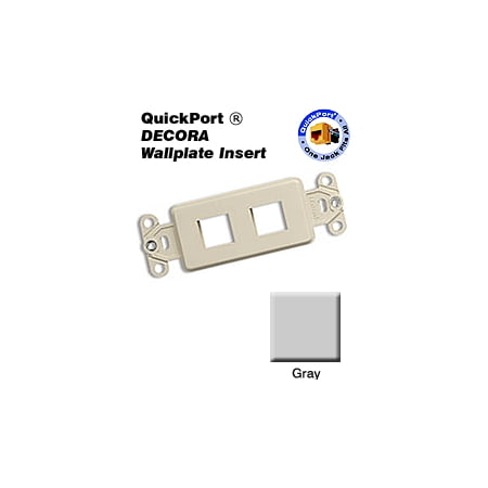 Leviton 41642-GY 2 Port Decora QuickPort Multimedia Insert -