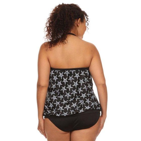 c75cd2bb8b ENLA Swimwear - Plus Size Black & White Sea Star Bandeau Blouson Tie ...