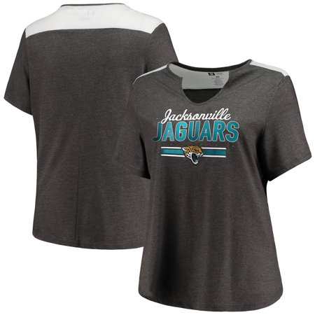 Jacksonville Jaguars Majestic Women's Notch Neck Plus Size T-Shirt - Heathered Charcoal