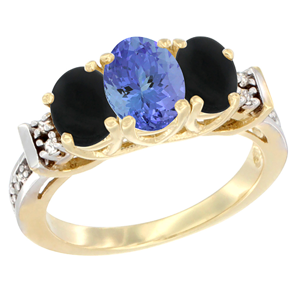 10K Yellow Gold Natural Tanzanite & Black Onyx Ring 3-Stone Oval Diamond Accent