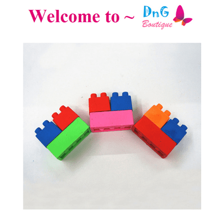 LWS LA Wholesale Store  144 blocs 48 bags Color Brick Rubbers Erasers Lego Teacher blocks Party Favor - Nearby Party Stores