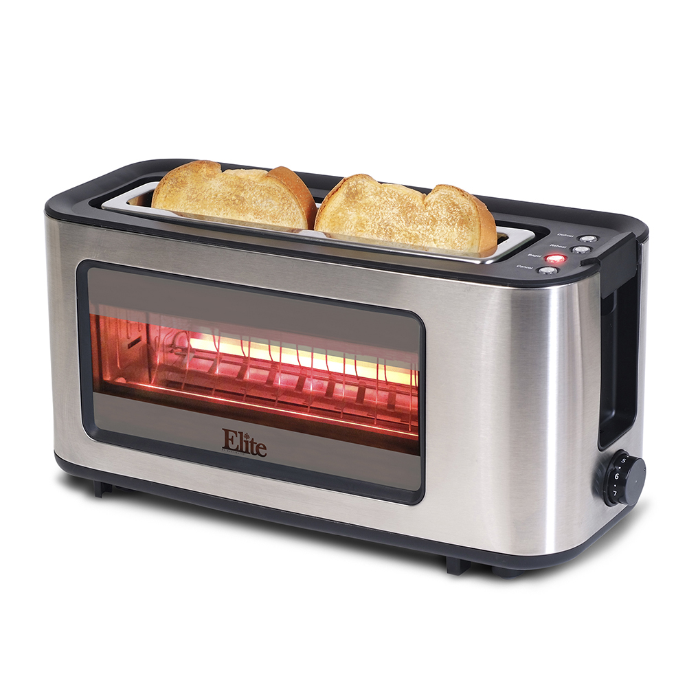 See Through Glass Maxi Matic Elite Platinum Glass 2 Slice Toaster Stainless Steel