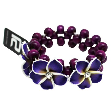 Color Coco Bracelets (Tropical Purple Coco Flower Bracelet With White and Yellow Accented Flower)