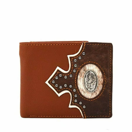 Western Cowboy Wallet Men's Leather Short Bifold Wallet for Men Praying Cowboy