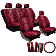 OxGord 17 Piece Set Leopard Animal Print Auto Seat Covers Front Low Back