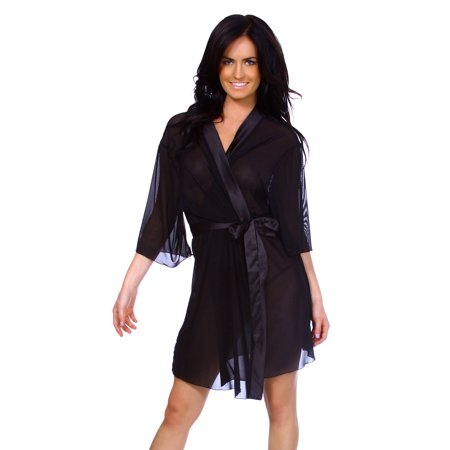 Women's Sexy Kimono Style Lingerie Robe in Sheer Chiffon, Black (Mesh Sheer Robe)