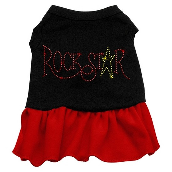 Image of Mirage 57-21 LGBKRD Rhinestone RockStar Dog Dress Black With Red Lg