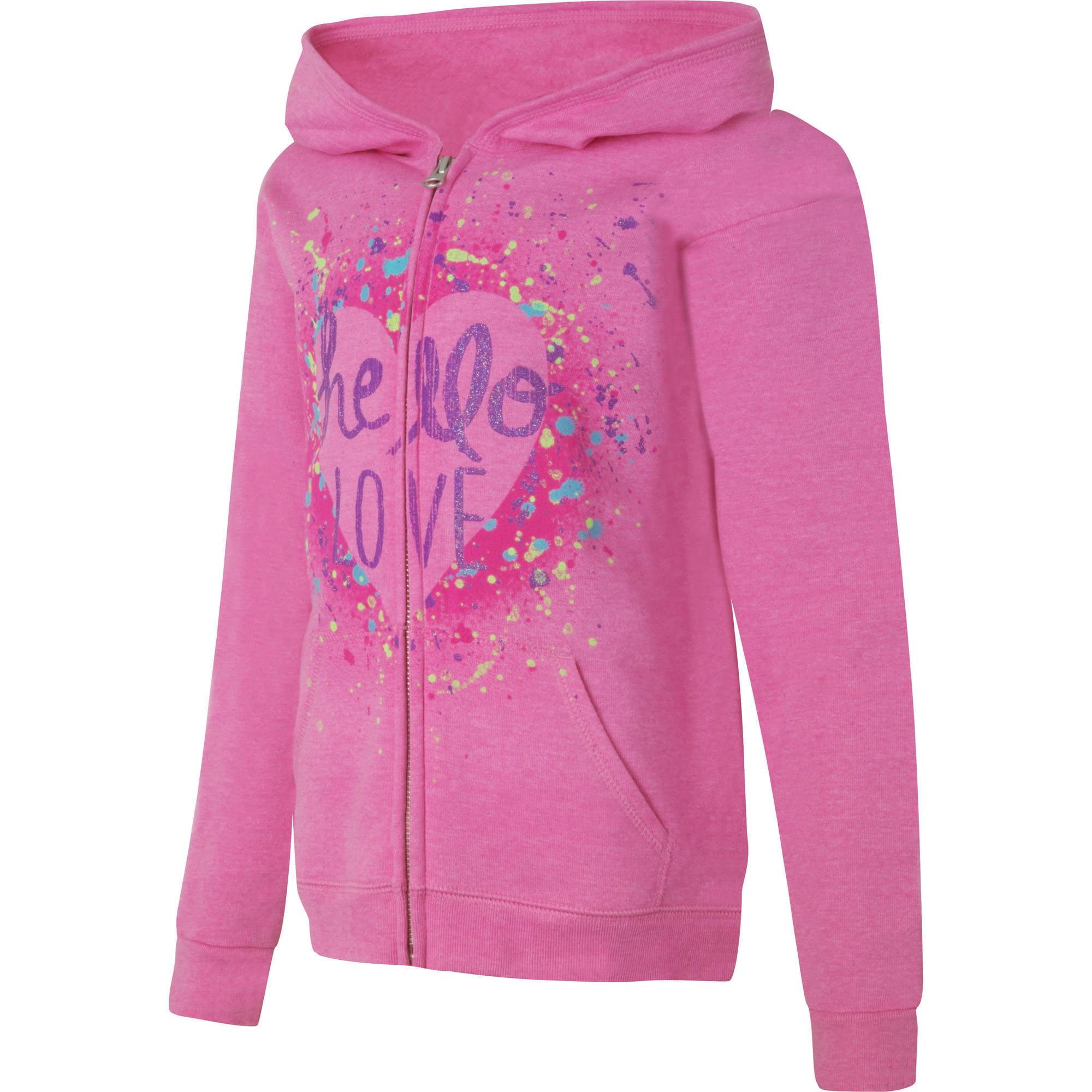 Hanes Girls' Printed Fleece Zip Hood Jacket