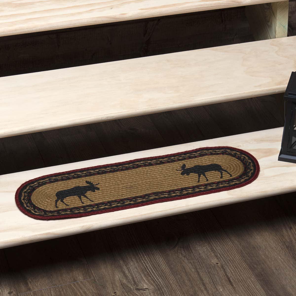 Almond Tan Rustic & Lodge Flooring Shasta Cabin Moose Jute Latex Backing Stenciled Nature Print Oval Stair Tread