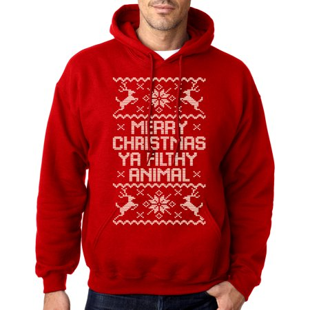 Men's Xmas Ya Filthy Animal Red Pullover Hoodie Sweater Medium Red