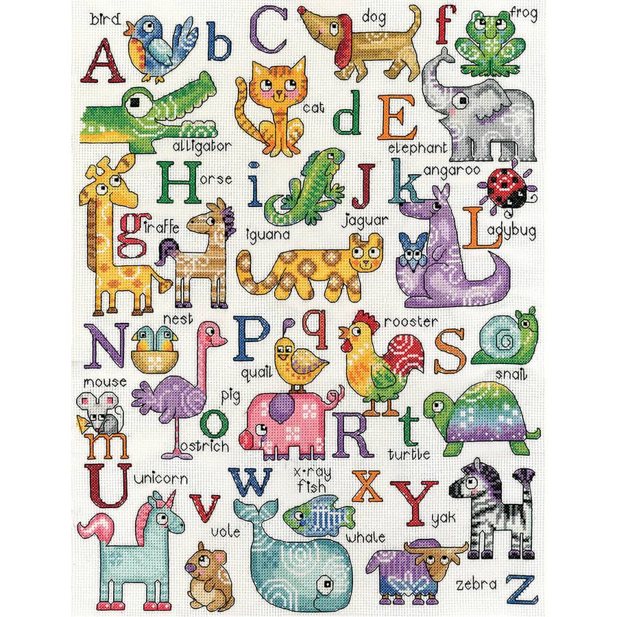 "ABC Animals Counted Cross Stitch Kit, 12"" x 16"", 14-Count"