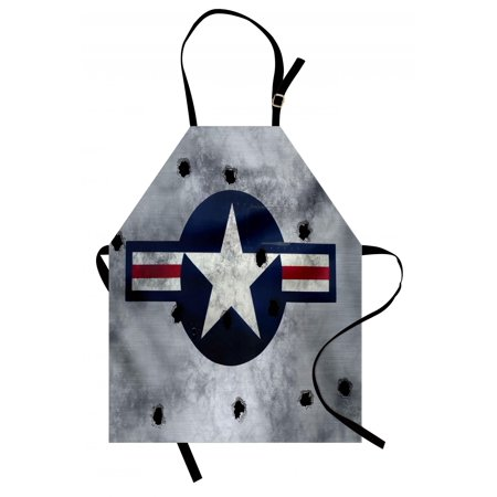 Airplane Apron Star on Round Circle with Stripes with Grunge Effect Backdrop Aircraft, Unisex Kitchen Bib Apron with Adjustable Neck for Cooking Baking Gardening, Red Grey Blue White, by Ambesonne