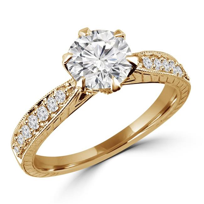 Majesty Diamonds MD170250-5.25 1 CTW Round Diamond Solitaire with Accents Engagement Ring in 18K Yellow Gold - Size 5.25