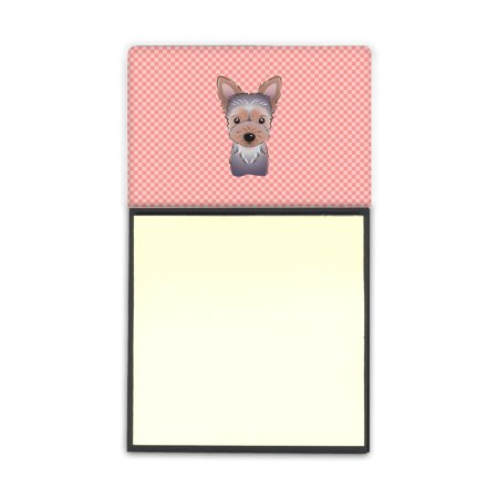 Pencil Dispenser (Checkerboard Pink Yorkie Puppy Refiillable Sticky Note Holder or Postit Note Dispenser)
