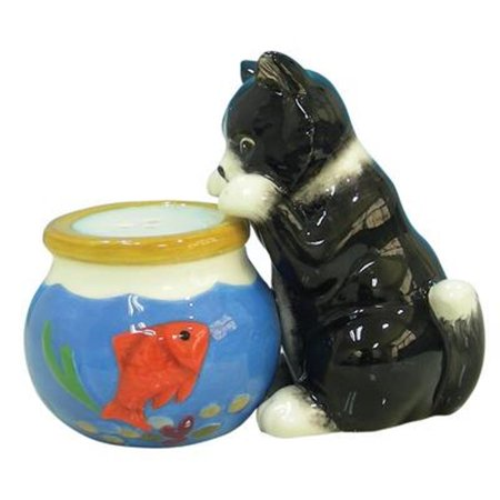Black cat watching a fish bowl salt and pepper shakers for Fish salt and pepper shakers