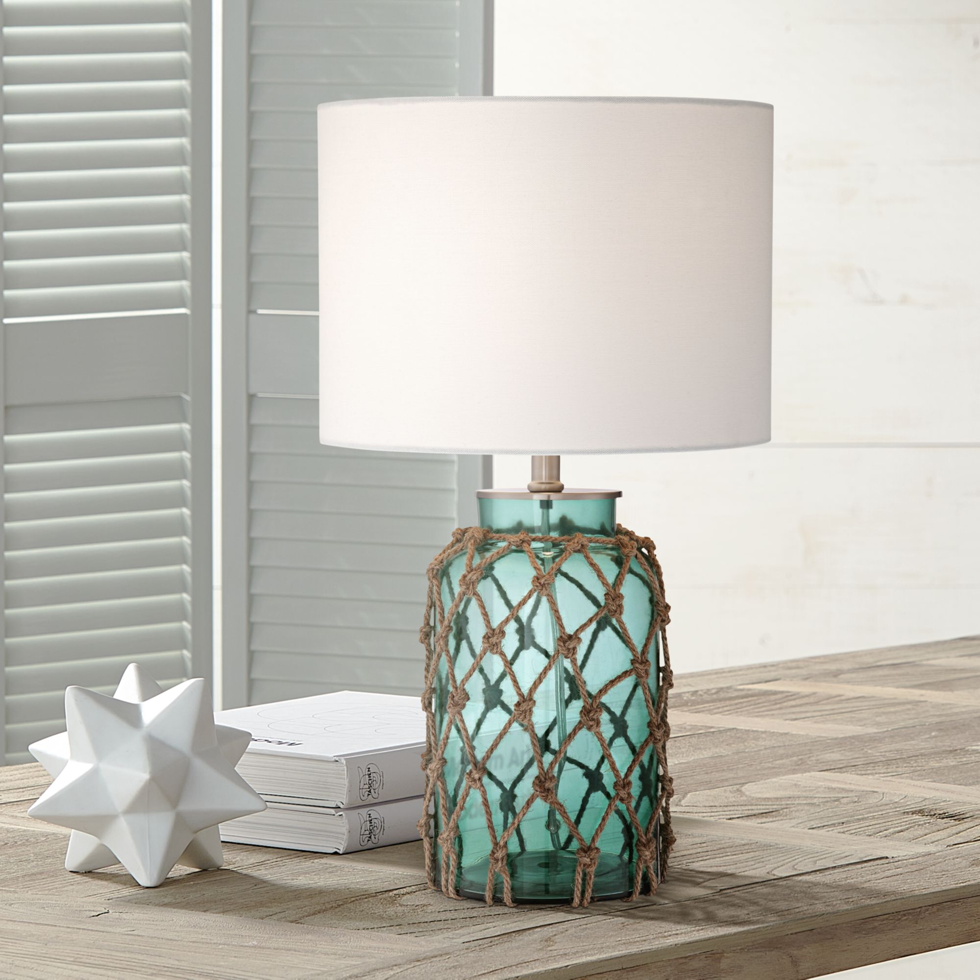 360 Lighting Nautical Accent Table Lamp Coastal Blue Green Glass