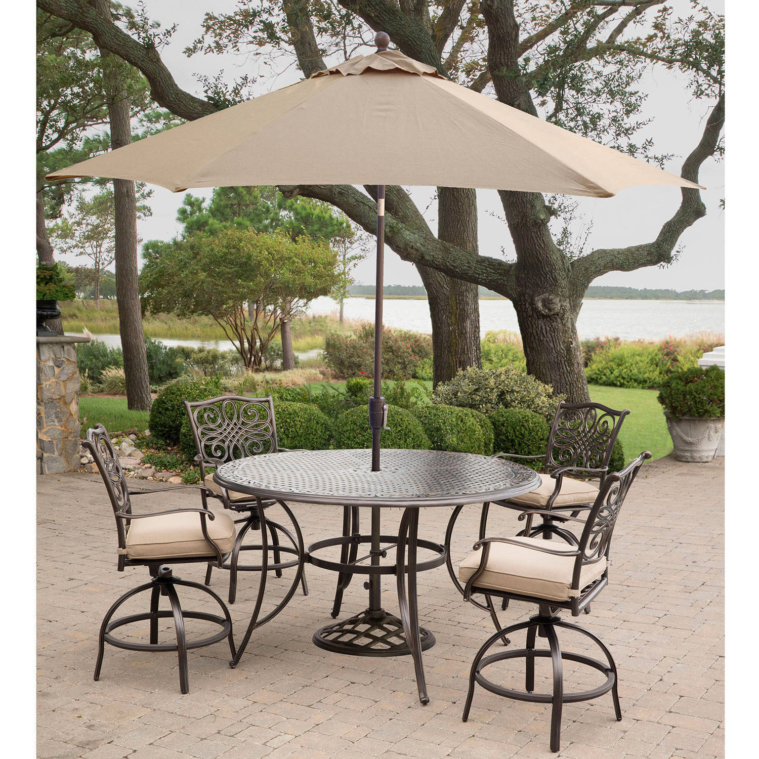 Hanover Traditions 5-Piece Cast-Top High Dining Set with Umbrella and Stand