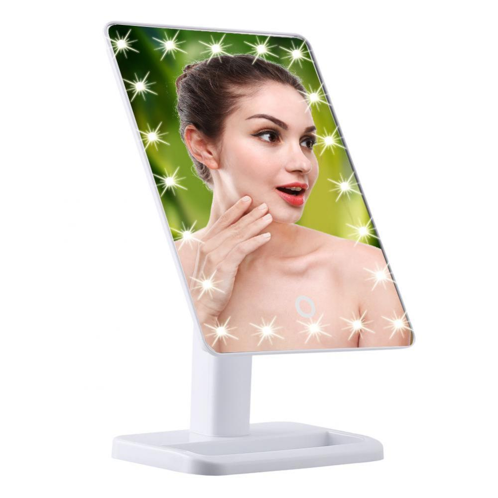 20 LED Makeup Mirror Touch Screen Illuminated Makeup Stand Mirror Desktop Lighted Cosmetic Mirrors White