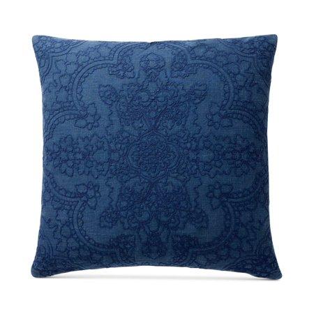 Lucky Brooke Navy 100% Cotton European Sham,  26 Inch x 26 Inch, Blue Nautica Blue European Sham