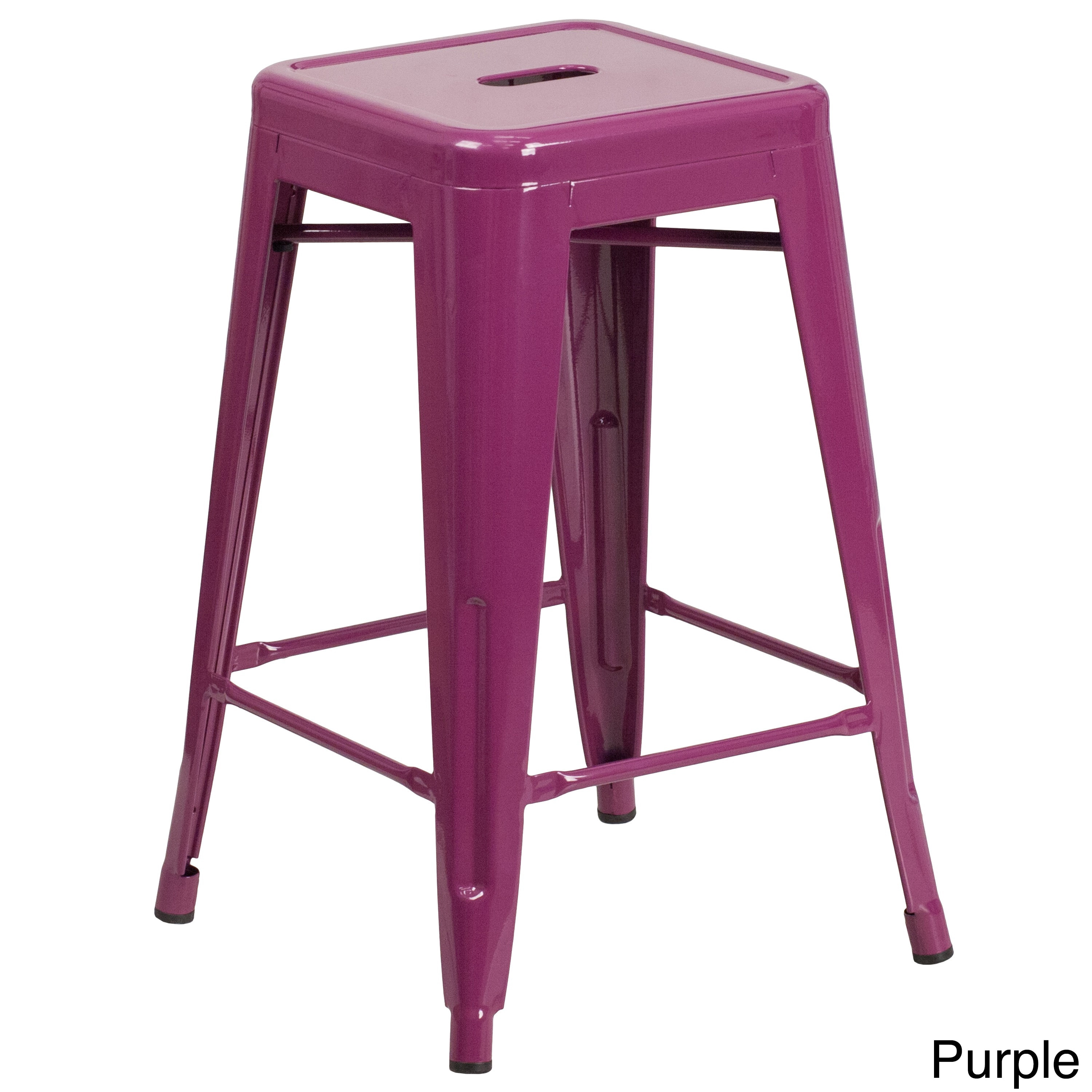 Lancaster Home 24'' High Backless Metal Indoor-Outdoor Counter Height Stool with Square Seat