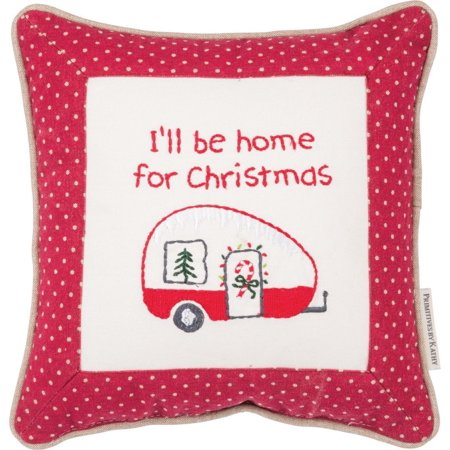 HOME FOR CHRISTMAS Camper Embroidered Pillow, 10